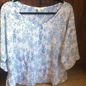 Paper Crown Tops - White & blue flown blouse