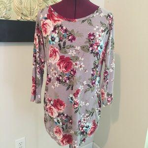 Eyelash Brand Floral Jersey Tunic
