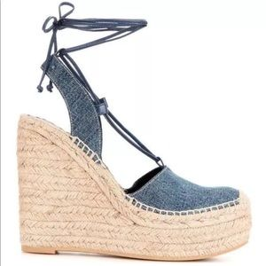 SAINT LAURENT DENIM ESPADRILLE WEDGE SANDALS 40