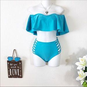 Other - NEW Teal Ruffle Top Off Shoulder Hi Waisted Bikini