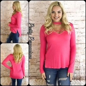 SALE‼️ NWT Hot Pink Strappy Chocker Top