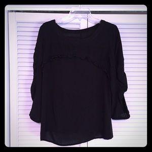 Black ruffled linen top