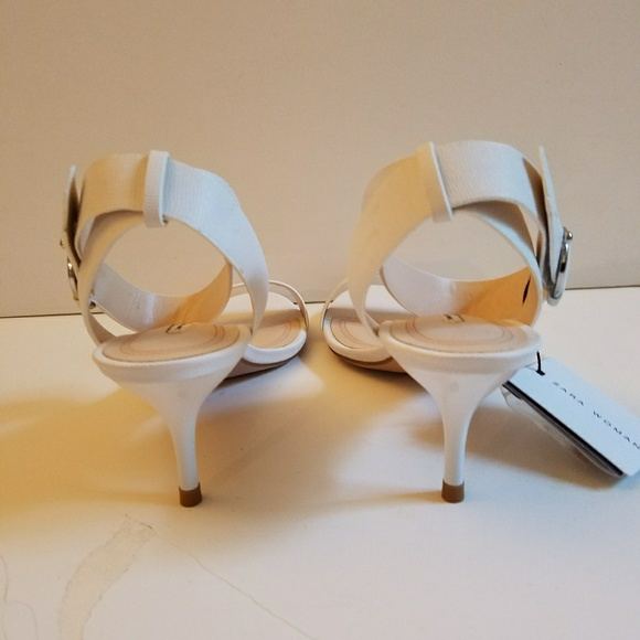 Zara Shoes - ZARA White Mid Heel Sandal Ankle Strap Kitten Heel