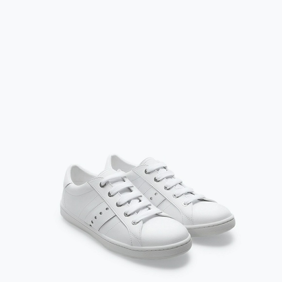 Zara Shoes - ZARA White Perforated Leather Sneaker Shoe Trainer