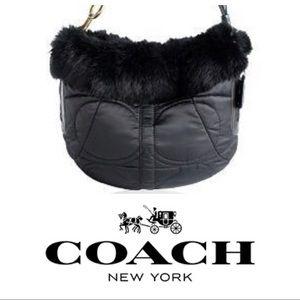 NWOT Black Coach Purse with Fur