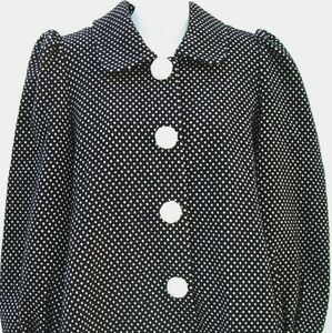 MANOUSH Wool Polka Dot Pom Pom Swing Coat Jacket