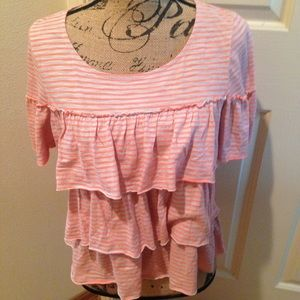 Anthropologie Postmark Striped Tiered Ruffle Top