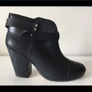 RAG & BONE HARROW BLACK LEATHER ANKLE BOOTIES