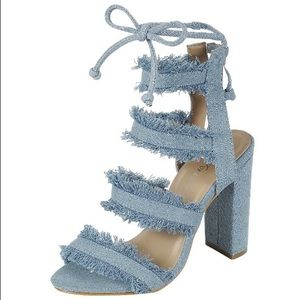 Shoes - Ripped Light Denim Block Heel | MAKE A OFFER