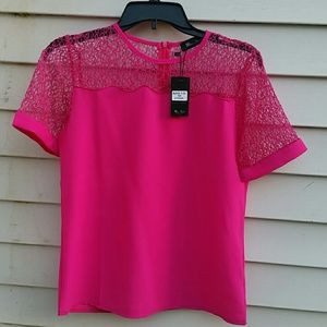Miss Finch Tops - NWT Hot Pink Blouse Size M by Miss Finch
