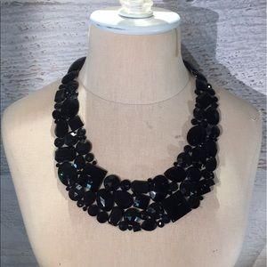 Black rhinestone bib necklace