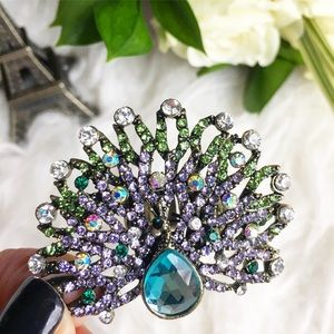 Jewelry - Glamour Peacock statement ring rhinestone