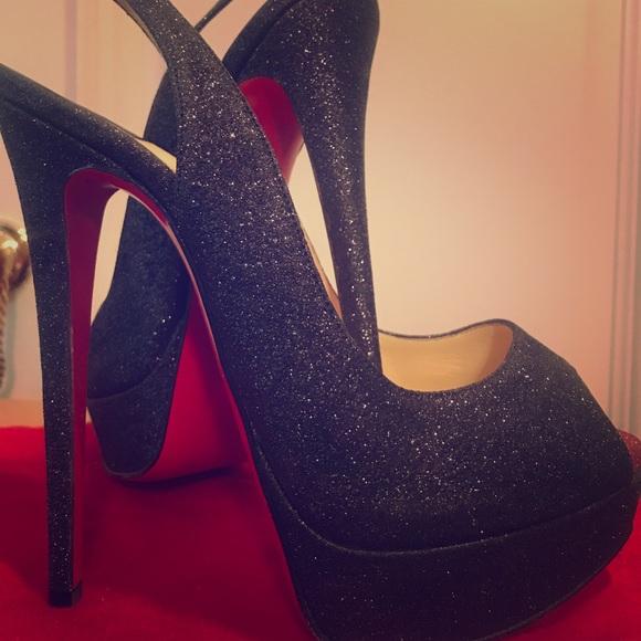 official photos 2c010 2a39b Christian Louboutin sparkly black heels