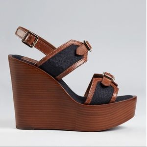 Tory Burch Shoes - TORY BURCH Florian Denim Buckle Wood Wedge Sandal