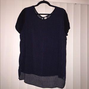 Black & blue herringbone blouse