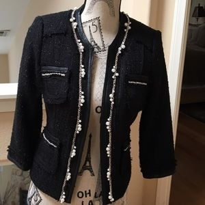 REDUCED - Chic Cropped Tweed Jacket with Pearls
