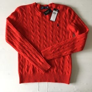 Polo by Ralph Lauren Sweaters - Polo by Ralph Lauren Red Cable Knit Sweater
