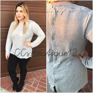 Tops - Button Detailed Floral Long Sleeve (Plus Size)