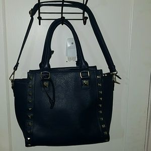 Leather Navy Blue Handbag