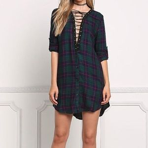 Classic Tops - Green Plaid Lace Up Tunic Dress
