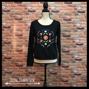 Flying Tomato Tops - Flying Tomato Floral Embroidered Sweatshirt