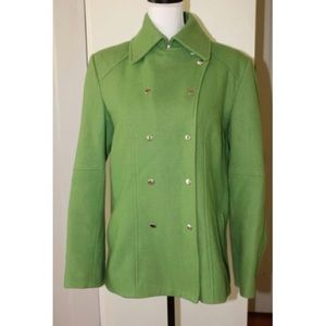 GUESS Double Breasted Green Peacoat Wool Blend