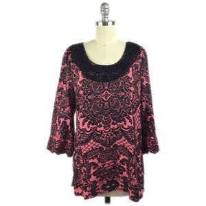 Robert Graham Paisley Embroidered 3/4 Sleeve Tunic