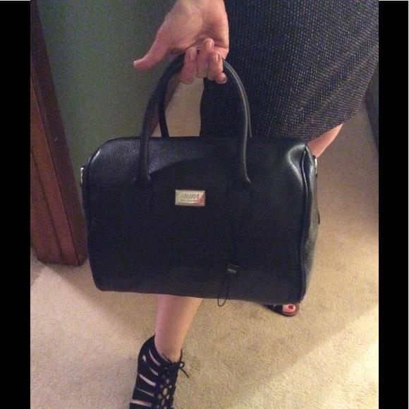 Armani Collezioni Handbags - Armani Collezioni Black Pebbled Leather Handbag 61ef1cd681e65