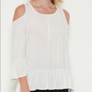 Tops - Ivory cold shoulder top