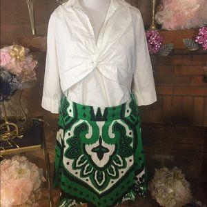 I.N.C. Dresses & Skirts - I.N.C. Green and black skirt and White top