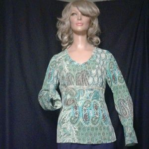 Emma James Tops - Blue and green Emma James long sleeve blouse