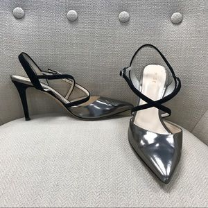 Metallic and black suede sling back pumps