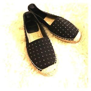 Saint Laurent Shoes - Saint Laurent Studded Canvas Espadrille Flats