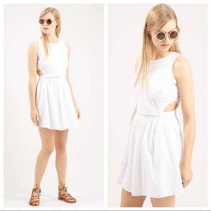 Topshop PETITE Dresses & Skirts - Topshop Pinafore Embroidered sundress