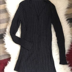 Sweaters - Super Soft Cable Knit Black Long Cardigan