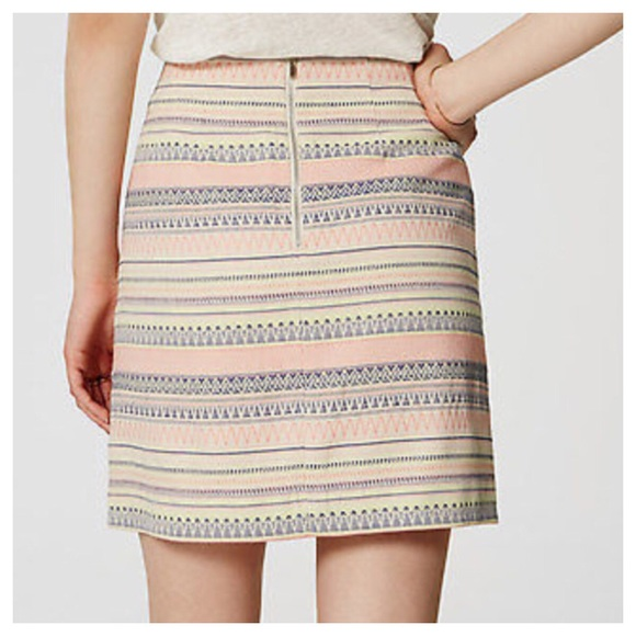 Loft Ann Taylor Loft Jacquard Stripe Pink Pencil Skirt