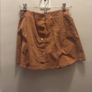 Brown corduroy button up skirt