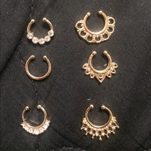 Set of 6 faux septum rings