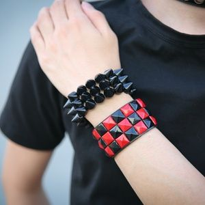 Red Black Studded Checker Bracelet Fashion Punk