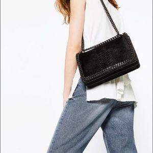 Zara classic Black Leather Shoulder Handbag