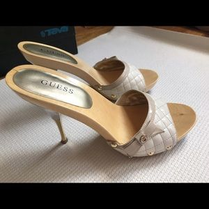 Guess Shoes - 🎀Guess brown-and-white peep toe heels🎀