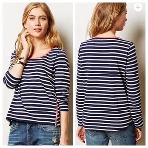 Anthropologie Tops - Anthropologie Stripezip Tee