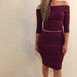 Dresses & Skirts - •LAST 2• Wine Ribbed Off The Shoulder Top & Skirt