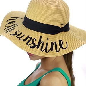 ab2ad3265cd53 C.C. Accessories - Womens Beach Embroidered Quote Floppy Brim Sun Hat