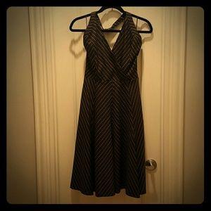 ZARA Brown Striped Halter Dress