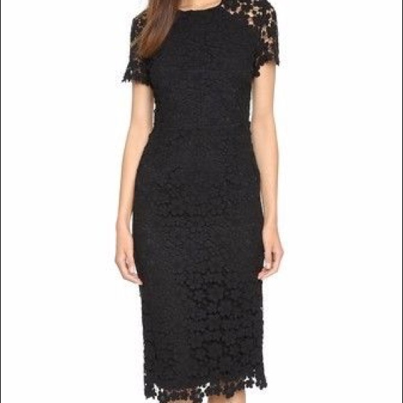8f301e9554b Shoshanna Beaux Guipure Lace Sheath Midi Dress. M 590a9effc6c795cb3801203f