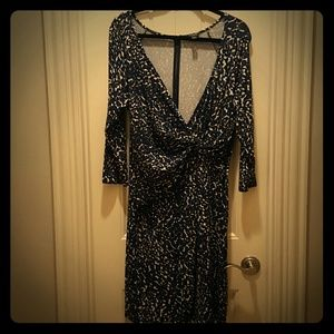 ANN TAYLOR Blue Black and White Print Dress