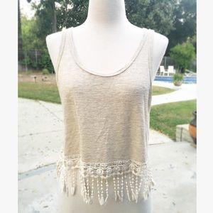 Tan Crochet Fringe Summer Crop Top