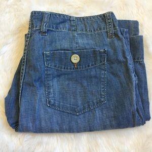 GAP Wide Leg Denim Linen Resort Style Pants