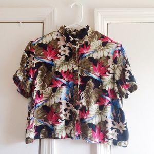 Topshop Floral Crop Button Up